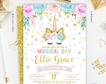 Unicorn Invitation, Unicorn Birthday Invitation, Rainbow Unicorn Magical Birthday Invitation, Unicorn Birthday Party, Floral Invitation