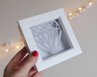 Framed Paper Cut Diamond