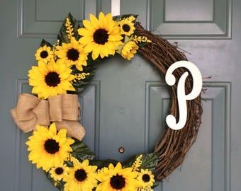Sunflower Front Door Wreath - Spring Sunflower Wreath - Sunflower Wreath - Sunflower Decoration - Sunflower Door Hanger- Personalized Wreath