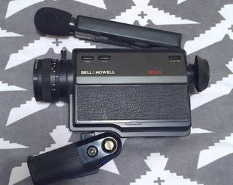 Vintage 1980s Bell and Howell MS 30 XL Sound Movie Camera with Case Retro Camera Prop Costume