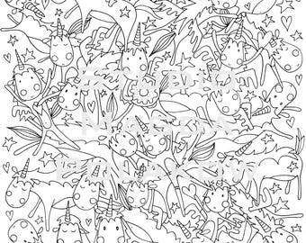 Unicorn. Colouring Page. Art Therapy. Adult Colouring Page. Children colouring. Detailed colouring.