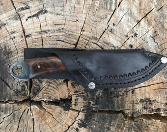 Fat Toad Tadpole , walnut burl handle w/ leather sheath