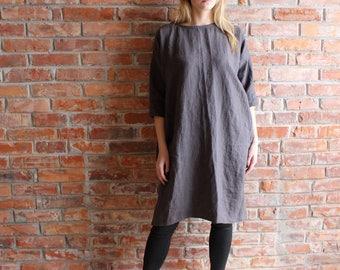 Linen Dress, Oversized Tunic,Charcoal Gray Plus size tunic, Linen Tunic Dress, loose linen tunics for women
