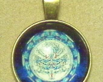 """Zen goddess glass necklace; beautiful, glass cabochon pendant, 'Zen Goddess', antique brass, 1 1/2"""", 1pc/6.00."""
