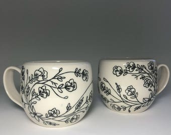 MADE TO ORDER - floral mugs