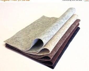 "SALE Save 15% 5 Pack Heather Colors 8"" x 12"" Sheets Merino Wool Felt"