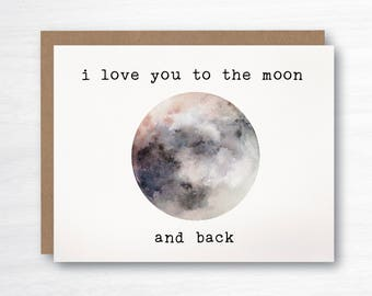 valentine's day card - love card - I love you to the moon and back - to the moon and back - romance card - I love you card  - moon card