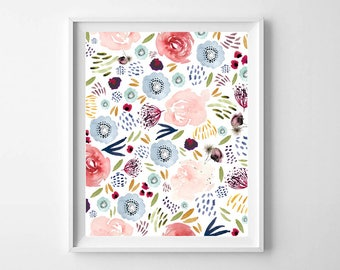 Floral Watercolor Printable, Printable Art, Floral Blooms Print, Floral Wall Art Print, Girls Room Decor, Nursery Decor, Floral Art Print