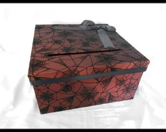 Gothic Orange Halloween Spiderweb Wedding Card Holder Box