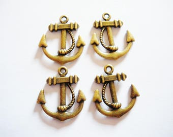 4 charms anchor bronze 23 x 20 mm