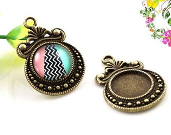 2 pendant medium antique cabochon 30 x 20 mm