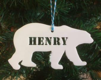 Personalised Polar Bear Christmas Tree Acrylic Decoration.