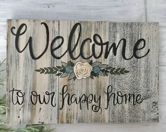 Wood sign/Welcome/reclaimed wood/floral/hand painted