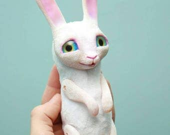 Cute white bunny toy