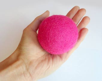 Cat toy big pink jumbo ball  - colorful, felted wool, Natural, silent, animalove