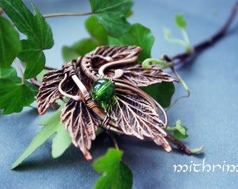 Hop leaf jewelry pendant Electroformed leaf Botanical necklace Real plant green stone Elven jewelry Nature jewelry Hop copper pendant leaves