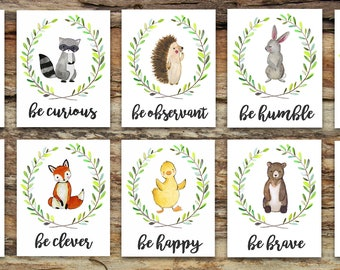 Woodland Animal Nursery Decor | Fox Deer Raccoon Owl Bunny Rabbit Bear | Woodland Creatures Be Brave Be Kind Be Curious Be Happy | Wall Art