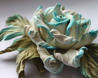 Turquoise White Green leather rose flower, corsage flower, leather gift for her, rose brooch, leather jewelry, Valentine Birthday gift