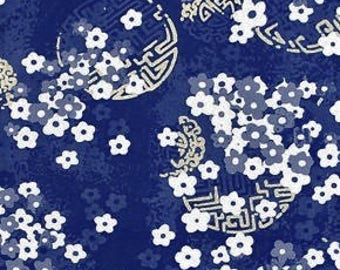 Asian Collection 2010; Alfred Shaheen Fabric; metallic; 1/2 yard woven cotton; Plum Blossoms in Blue