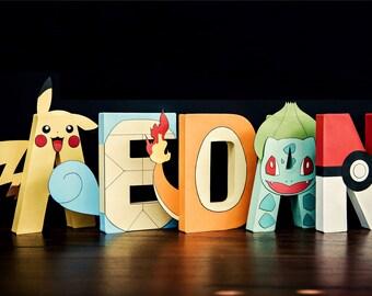Pokemon Paper Mache Letters - ONE LETTER