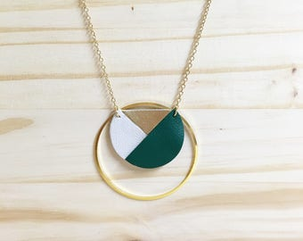 Geometric necklace gold filled green leather