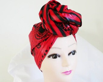 Red and Black Stripes and Flowers Ankara Head wrap, DIY head tie, Stylish African head scarf, Fabric hair accessory – Made to Order