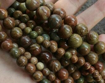 Natural China Jasper Beads, 6mm 8mm 10mm 12mm Round Semi Precious Stone Beads Bulk Wholesale (WM322)