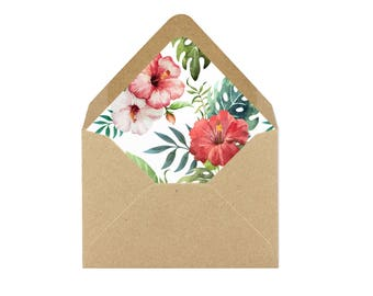 """Printable Tropical Leaves & Hibiscus, Hawaiian Pink Floral and Tropical Envelope Liner, Tropical Leaves Liner 8.5x11"""" - INSTANT DOWNLOAD"""