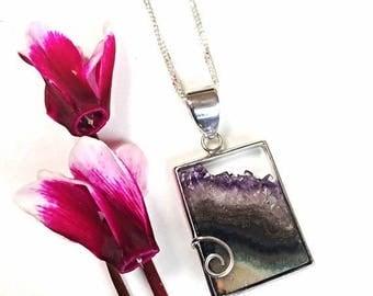 On Sale Amethyst necklace, amethyst slice necklace, sterling silver, amethyst  pendant, amethyst druzy, amethyst jewelry, purple, square pen