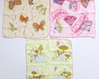 Lot of 3 Vintage 60s Erin O'Dell Handkerchiefs — Mushroom Butterflies Fan