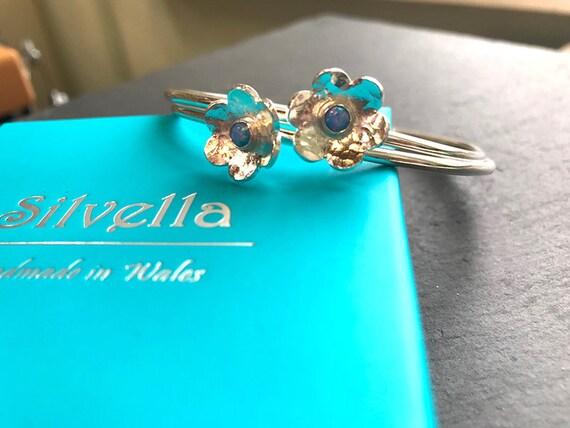 Silver Bangle - Silver Bracelet - Opal Flower Flower Bracelet - Gift For Her - Handmade in Wales