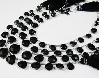 AAA Quality Natural Black Spinel Faceted Heart Shape Beads ,  5-13mm Briolette Black Spinel Beads , Strand 8 inches Long , Side Drilled