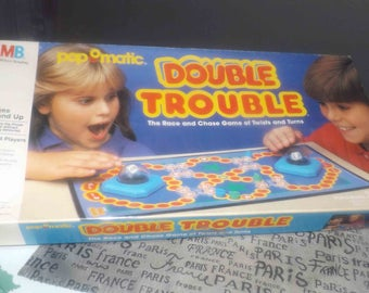 Vintage (c.1987) Milton Bradley Pop-O-Matic | Popomatic Double Trouble board game. Complete!