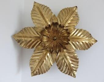 """RESERVED V large lamp applique flower metal """"GOLD LEAF"""" gold mid century 1970's 70's vintage wall lamp sconce Jansen"""