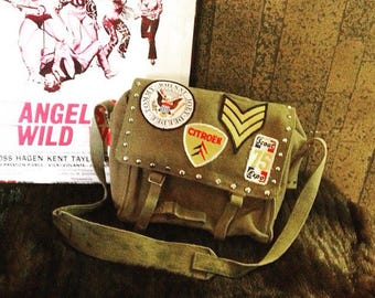 Vintage Patched and Studded Motorcycle Cross Body Bag