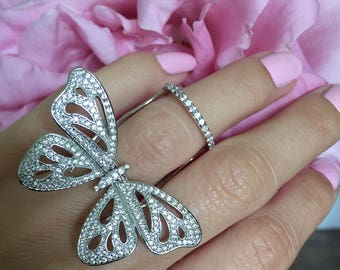 Unique Crystal Butterfly Ring. High Quality Statement Ring with Cubic Zirconia Diamonds and White Gold Plating.