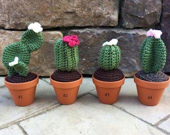 Crochet Cactus, Knit Succulent, Amigurumi Cactus, Artificial Plant, Cactus Plant, Succulent Decor, Desk Accessories, Fake Flowers