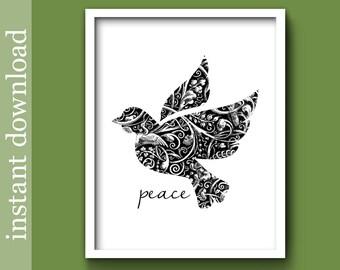 Peace printable, Dove of Peace, Christmas dove, dorm art, black and white, dove wall art, inspirational, peace print, download, world peace