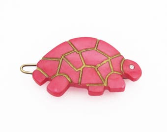 PETITE vintage 80's barrette hair clip, pearly rosy-red plastic turtle w gold accents, made in Italy, wire clasp