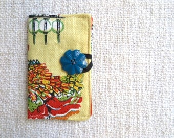 Retro card wallet, Retro credit card wallet, Card wallet, Loyalty card wallet, Melbourne souvenir wallet, Repurposed tea towel wallet