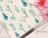 1/2 YD Scuba Knit Green Cacti on Off-White Ground Perfect for Lingerie Jackets Dresses Sewing