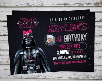 Star Wars Girls Invitation, Darth Vader Pink Party Invitation, Darth Vader Invitation, Star Wars Pink Girls Birthday Invite DIGITAL FILE