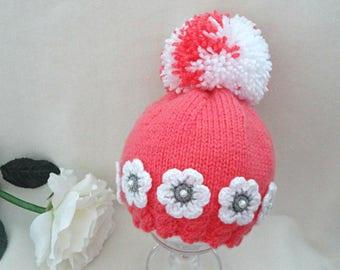 Baby Hat Crochet Baby Beanie Knitted Baby Hat PomPom Pink Baby Hat Newborn Gift Baby Shower Baby Girl Hat Knitted Baby Hat Baby Girl Infant