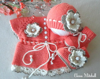 Baby Girl Cardigan Crochet Baby Jacket Knitted Baby Set Baby Shoes Baby Hat Crochet Baby Clothes Baby Girl Outfit Newborn Girl Gift Infant