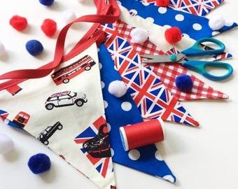 British Bunting, Mini Cooper Decor, Red White Blue Banner, Car Banner, London Home Decor, Union Jack Bunting, Fabric Banner, Nessa Foye