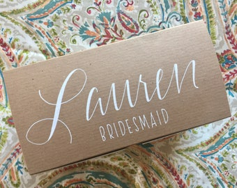 Personalized Gift Box, Bridesmaid Gift Box, Brown Kraft, White Ink, Hand-lettered, Custom. Create your own bridesmaid survival kit!