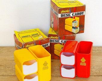 Vintage desk caddy plastic 70s.New old stock.HOF.Original box.Retro office desk decor organizer.Red yellow desk caddy drawers.Pen holder