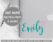 Cursive Name Sticker for Laptop, Heart Decal, Calligraphy Decal Personalized Name Decal Vinyl Decal Name Glitter Decal for Women