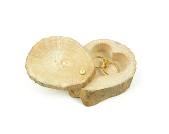 Wedding ring pillow, ring pillow in natural wood