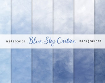 Blue Ombre Watercolor Digital Paper set, 6 Digital Backgrounds, Blue Sky, Scrapbooking, Crafts, Invitations, Digital Scrapbooking